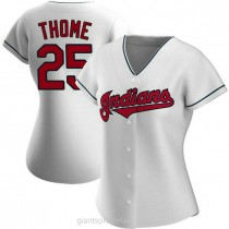 Womens Jim Thome Cleveland Indians #25 Authentic White Home A592 Jerseys