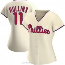 Womens Jimmy Rollins Philadelphia Phillies #11 Replica Cream Alternate A592 Jerseys