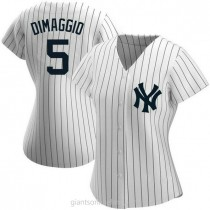 Womens Joe Dimaggio New York Yankees #5 Authentic White Home Name A592 Jersey