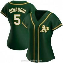 Womens Joe Dimaggio Oakland Athletics #5 Authentic Green Alternate A592 Jerseys