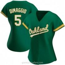Womens Joe Dimaggio Oakland Athletics #5 Authentic Green Kelly Alternate A592 Jersey