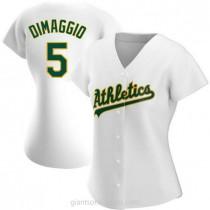 Womens Joe Dimaggio Oakland Athletics #5 Authentic White Home A592 Jersey