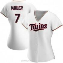 Womens Joe Mauer Minnesota Twins #7 Authentic White Home A592 Jerseys