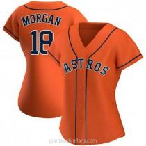 Womens Joe Morgan Houston Astros #18 Authentic Orange Alternate A592 Jerseys