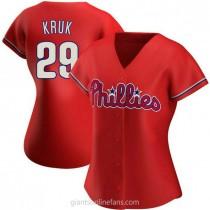 Womens John Kruk Philadelphia Phillies Replica Red Alternate A592 Jersey