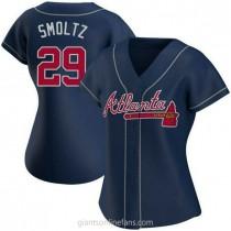 Womens John Smoltz Atlanta Braves #29 Authentic Navy Alternate A592 Jerseys