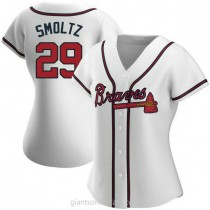 Womens John Smoltz Atlanta Braves #29 Replica White Home A592 Jerseys