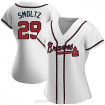 Womens John Smoltz Atlanta Braves Authentic White Home A592 Jersey