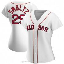 Womens John Smoltz Boston Red Sox #29 Authentic White Home A592 Jerseys