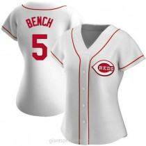 Womens Johnny Bench Cincinnati Reds #5 Authentic White Home A592 Jerseys