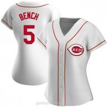 Womens Johnny Bench Cincinnati Reds #5 Replica White Home A592 Jersey