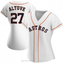 Womens Jose Altuve Houston Astros #27 Authentic White Home A592 Jersey