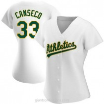 Womens Jose Canseco Oakland Athletics #33 Authentic White Home A592 Jersey