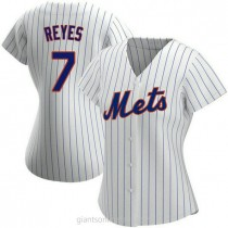 Womens Jose Reyes New York Mets #7 Authentic White Home A592 Jerseys