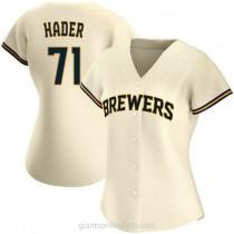 Womens Josh Hader Milwaukee Brewers #71 Replica Cream Home A592 Jerseys