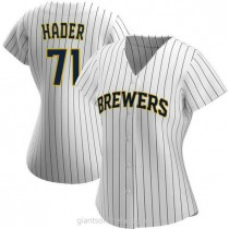 Womens Josh Hader Milwaukee Brewers Replica White Navy Alternate A592 Jersey