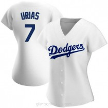 Womens Julio Urias Los Angeles Dodgers #7 Authentic White Home A592 Jerseys