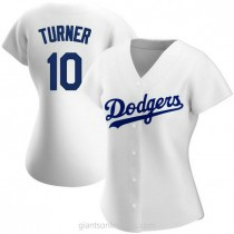 Womens Justin Turner Los Angeles Dodgers #10 Authentic White Home A592 Jersey