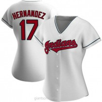 Womens Keith Hernandez Cleveland Indians #17 Replica White Home A592 Jersey
