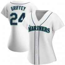 Womens Ken Griffey Seattle Mariners #24 Authentic White Home A592 Jersey