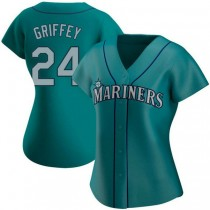 Womens Ken Griffey Seattle Mariners Authentic Aqua Alternate A592 Jersey