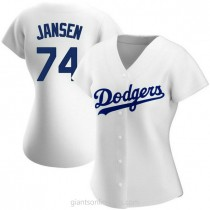 Womens Kenley Jansen Los Angeles Dodgers #74 Authentic White Home A592 Jersey