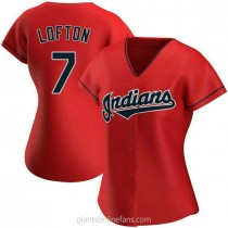Womens Kenny Lofton Cleveland Indians #7 Authentic Red Alternate A592 Jerseys