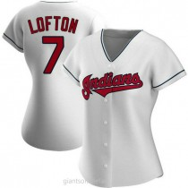 Womens Kenny Lofton Cleveland Indians #7 Authentic White Home A592 Jersey