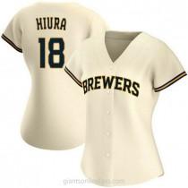 Womens Keston Hiura Milwaukee Brewers Replica Cream Home A592 Jersey