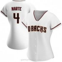 Womens Ketel Marte Arizona Diamondbacks #4 Replica White Home A592 Jerseys