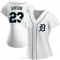 Womens Kirk Gibson Detroit Tigers #23 Authentic White Home A592 Jersey