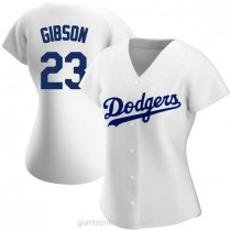 Womens Kirk Gibson Los Angeles Dodgers #23 Authentic White Home A592 Jersey