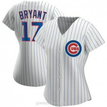 Womens Kris Bryant Chicago Cubs #17 Authentic White Home A592 Jerseys