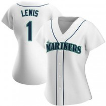 Womens Kyle Lewis Seattle Mariners #1 Authentic White Home A592 Jersey