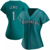 Womens Kyle Lewis Seattle Mariners #1 Replica Aqua Alternate A592 Jerseys