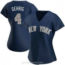 Womens Lou Gehrig New York Yankees #4 Authentic Navy Alternate A592 Jersey