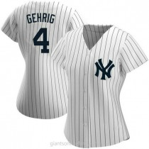 Womens Lou Gehrig New York Yankees #4 Authentic White Home Name A592 Jersey