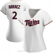 Womens Luis Arraez Minnesota Twins #2 Authentic White Home A592 Jersey
