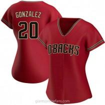 Womens Luis Gonzalez Arizona Diamondbacks #20 Replica Red Alternate A592 Jerseys