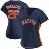 Womens Luis Gonzalez Houston Astros #26 Authentic Navy Alternate A592 Jersey