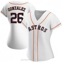 Womens Luis Gonzalez Houston Astros #26 Replica White Home A592 Jerseys