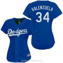 Womens Majestic Fernando Valenzuela Los Angeles Dodgers #34 Authentic Royal Blue Fashion A592 Jerseys