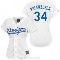 Womens Majestic Fernando Valenzuela Los Angeles Dodgers Replica White A592 Jersey