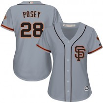 Womens Majestic San Francisco Giants Buster Posey Authentic Gray Road #2 Cool Base Mlb Jersey