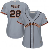 Womens Majestic San Francisco Giants Buster Posey Replica Gray Road Cool Base Mlb Jersey