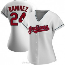 Womens Manny Ramirez Cleveland Indians #24 Authentic White Home A592 Jersey