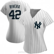 Womens Mariano Rivera New York Yankees #42 Authentic White Home Name A592 Jerseys