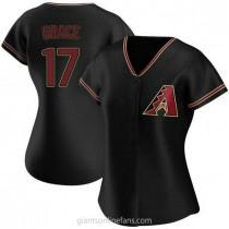 Womens Mark Grace Arizona Diamondbacks #17 Authentic Black Alternate A592 Jerseys