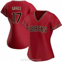 Womens Mark Grace Arizona Diamondbacks #17 Replica Red Alternate A592 Jersey