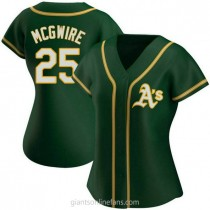 Womens Mark Mcgwire Oakland Athletics #25 Authentic Green Alternate A592 Jersey